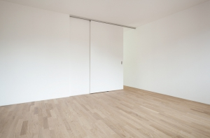 interior new house, empty room with sliding door